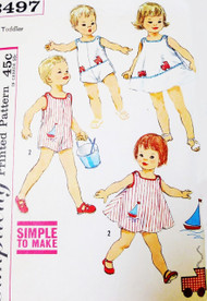 ADORABLE 1950s Toddlers Sunsuit, Dress and Bloomer Pants Pattern SIMPLICITY 3497 Simple To Make Little Girls Boys Beach Wear Pattern + Cute Applique Transfers Size 1 Vintage Sewing Pattern
