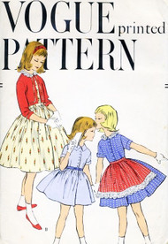 SWEET Little Girls Dress, Bolero Jacket and Apron Pattern VOGUE 2818  So Cute Size 6 Vintage Sewing Pattern