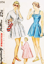 1940s LOVELY Princess Bathing suit and Beach Coat Pattern SIMPLICITY 2874 Beautiful Style swimsuit and Full Flare Back Beach Cover Up Bust 32 Vintage Sewing Pattern