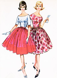 1950s BEAUTIFUL Full Skirt Party Evening Cocktail Dress Pattern McCALLS 5145 Attached Petticoat Lovely Scoop Neckline Fitted Bodice Bust 33 Vintage Sewing Pattern