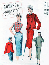 1950s STYLISH SUIT and Blouse Pattern ADVANCE IMPORT Adaptation 65 Slim Pencil Skirt, Perky Wing Collar Blouse Gorgeous Cutaway Front Jacket Bust 32 Vintage Sewing Pattern