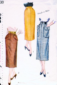 1950s Slim Straight Skirt Pattern SIMPLICITY 3330 Three Style Versions Includes Interesting Pocket Styles Waist 28 Vintage Sewing Pattern