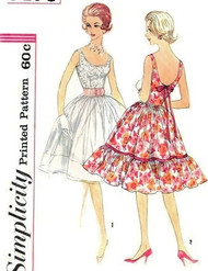 1960s LOVELY Full Skirt Party Evening Dress Pattern SIMPLICITY 3470  Scoop Necklines 2 Glamorous Styles Bust 32 Vintage Sewing Pattern