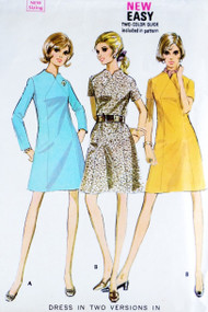Mod 60s A Line Dress Pattern McCALLS 2011 Seam Interest Striking Notched Neckline Bust 44 Vintage Sewing Pattern UNCUT
