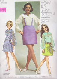 CUTE 60s How To Sew Suspender Skirts and Romantic Blouse Pattern SIMPLICITY 8664  Bust 32 Vintage Sewing Pattern UNCUT
