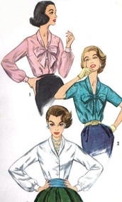50s PRETTY Daytime or Evening Blouse Pattern SIMPLICITY 2194 Bow Tie or Shawl Collar V Neck Blouses Bust 36 Vintage Sewing Pattern Factory Folded