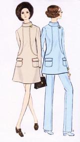 MOD 60s Maternity Dress or Tunic and Pants Pattern VOGUE 7683 Stylish Seam Interest Size 8 Vintage Sewing Pattern UNCUT