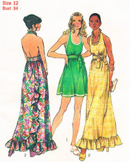 Vintage 70s Simplicity 5683 Misses Halter Maxi or Mini Dress Day or Party Prom Sewing Pattern  Bust 34 UNCUT