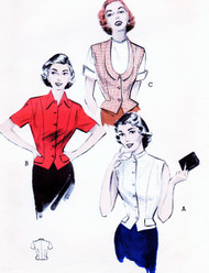 1950s SMART Weskit Style Blouse Vest Top Pattern BUTTERICK 6074 Three Styles Bust 36 Vintage Sewing Pattern UNCUT