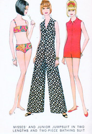 McCalls 8738 1960s Misses Two Piece Swimsuit Bikini and Zip Front Romper Jumpsuit Culottes Pattern Womens Bust 32 Vintage Sewing Pattern