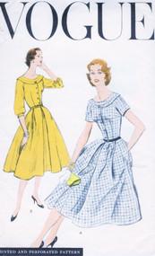 1950s PRETTY Dress Pattern VOGUE 8877 Flattering Neckline Full Skirt Dress Bust 34 Vintage Sewing Pattern