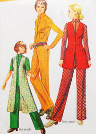RETRO 1970s Front Zip JUMPSUIT Pattern SIMPLICITY 8972 Straight Jumpsuit and Midi or Tunic Length Vest Bust 36 Vintage Sewing Pattern UNCUT