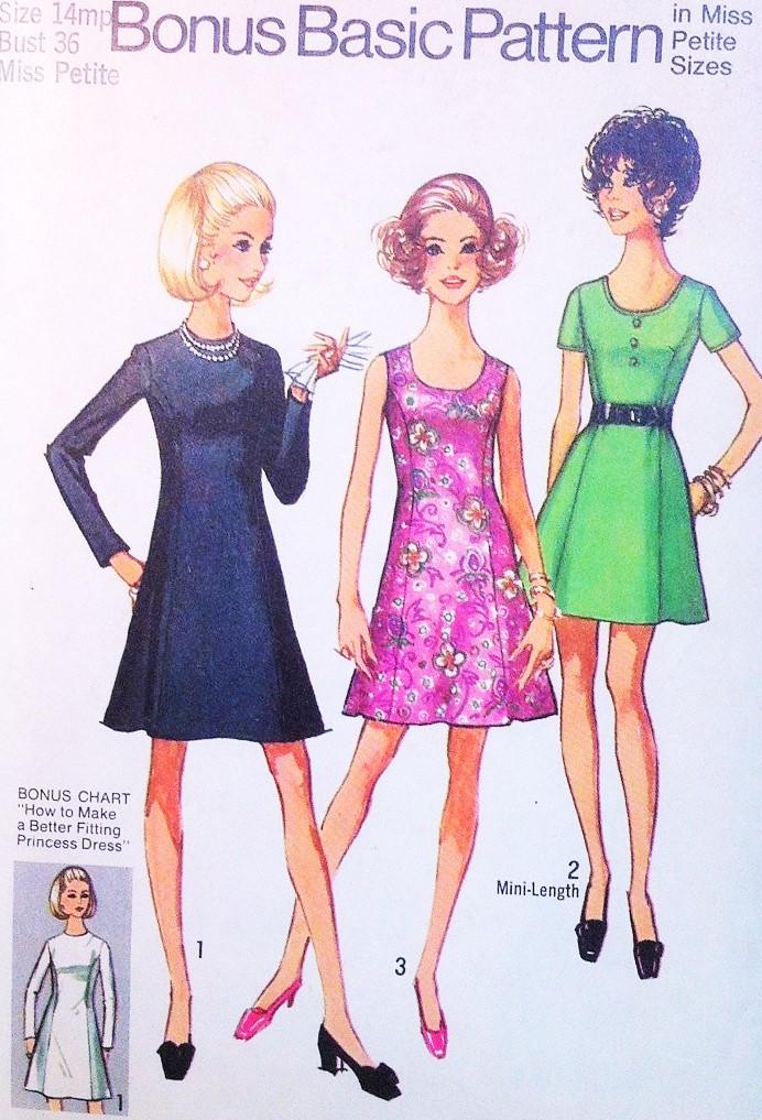Bust 36 1950s Rockabilly Style Princess Dress Sewing Pattern