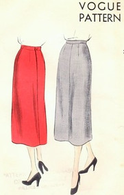 1950s CLASSY Slim Straight Skirt Pattern VOGUE 7068 Waist 28 Vintage Sewing Pattern