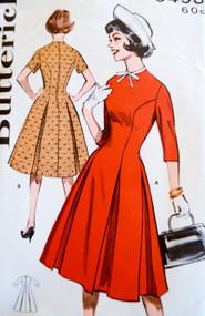 1960s Figure FLATTERING Box Pleated PRINCESS Dress Pattern BUTTERICK 9493 Bust 32 Vintage Sewing Pattern UNCUT