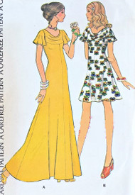 RETRO 70s Draped Cowl Neck Dress Pattern McCalls 3585 Flutter Sleeves Maxi Length or Above Knees Bust 38 Vintage Sewing Pattern UNCUT