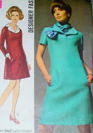 RETRO Simplicity 8446 Vintage 60s Sewing Pattern Mod Twiggy Yoked Dress,Scarf Designer Pattern Airline Stewardess Style Size 12 UNCUT