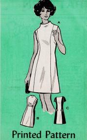 60s MOD Dress Pattern MAIL ORDER 4968 COLOR BLOCK Princess Seam A-line Dress Funnel or Bateau Necklines Bust 34 Vintage Sewing Pattern UNCUT