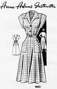 1940s SWING ERA Dress Pattern ANNE ADAMS 4653 Large Shaped Pockets 3 Sleeve Variations Bust 32 Vintage Sewing Pattern