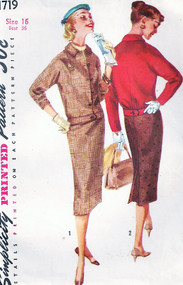 1950s SUIT Pattern SIMPLICITY 1719 Bust 36 Pencil Slim Skirt  Bloused Back Jacket Vintage Fifties Sewing Pattern