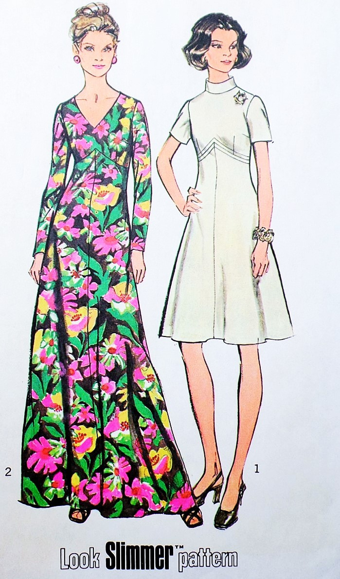 a67354248 RETRO 70s SIMPLICITY 5850 Maxi Dress or Day Length Pattern Two ...