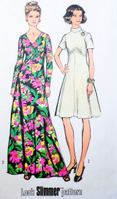 RETRO 70s SIMPLICITY 5850  Maxi Dress or Day Length Pattern Two Neckline Styles Bust 36 Vintage Seventies Sewing Pattern