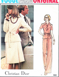 RETRO 70s DIOR Top,Skirt and Pants Pattern VOGUE PARIS Original 1021 Great For Travel Weekend Wear Bust 36 Vintage Seventies Sewing Pattern