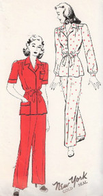 1940s Two Pc PAJAMAS Pattern NEW YORK 970 Stylish Casual Hostess PJs Two Style Versions Bust 30 Forties Vintage Sewing Pattern FACTORY FOLDED