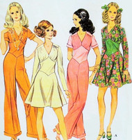 60s Disco JUMPSUIT  and Dress Pattern McCalls 2055 Flattering Diamond Shape Midriff Flared Skirt, Cuffed Wide Pants Bust 32.5 Sixties Sewing Pattern UNCUT