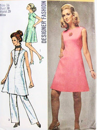 1970s Designer Fashion SIMPLICITY 8775 Dart Shaped A-line Dress Tunic Top and Dart-fitted Pants Bust 38 Vintage Sewing Pattern
