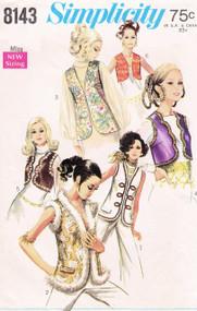 Mod 1960s Misses Set of Vests Pattern SIMPLICITY 8143 Bust 36 Vintage Sewing Pattern