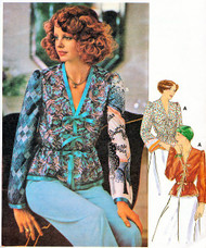 Butterick 4724 Vintage 70s Misses' Blouse Sewing Pattern Lovely Bell Sleeves V Neckline Front Ribbon Ties Bust 34-36 UNCUT