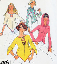 1970s RETRO  Vintage Simplicity Jiffy Sewing Pattern 6656 Knit Hoodie and Shaped Hem Top Bust 30-31 UNCUT