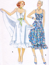 70s CUTE Sundress Pattern BUTTERCK 5480 Strappy Laced Up Bodice, Dirndl Skirt w/ Ruffles Bust 36 Vintage Sewing Pattern UNCUT