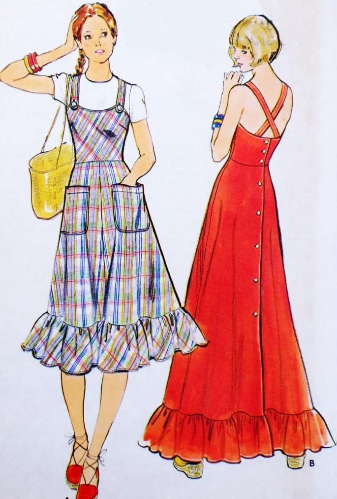c9ba2feede 70s CUTE RETRO Jumper Dress or Sun Dress Pattern BUTTERICK 4200 Back ...