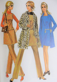 Mod 60s McCalls 2059 Vintage Sewing Pattern 60s Wardrobe Wrap Coat Trench, Jumper Tunic or Mini Dress, Pants Perfect Travel Wardrobe Size 11 UNCUT