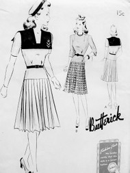 CUTE 1940s FROCK Dress Pattern BUTTERICK 9385 Large Sailor Collar Pleated Skirt 2 Styles Bust 28 Vintage Forties Sewing Pattern FACTORY FOLDED