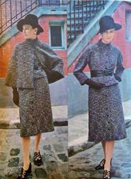 1970s CLASSY Guy Laroche Suit and Cape Coat Pattern VOGUE PARIS Original 2548 Kimono Sleeve Jacket Front Button Midi Skirt Bust 38 Vintage Seventies Sewing Pattern UNCUT
