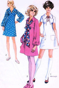 CUTE 70s Dress Pattern Simplicity 8805 Lace Up Collar kawaii Empire Bust 34 Mini Skirt Neck Tie Dress Glam Dance Vintage Sewing Pattern