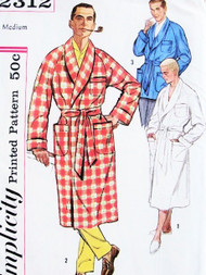 Vintage Mens CLASSIC Robe and Lounge Jacket Sewing Pattern UNCUT Size Medium lounging Robe Bathrobe