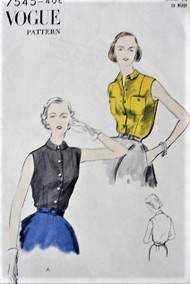 1950s VOGUE 7545 Vintage Sewing Pattern  Tuck In Sleeveless Blouses Two Versions Bust 32 Factory Folded