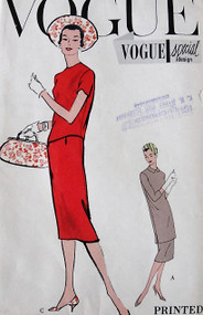 1950s VOGUE Special Design 4879 Vintage Sewing Pattern Sleek Slim Two Piece Dress Regular or Tunic Overblouse Bust 36