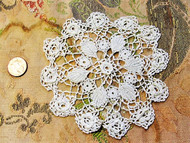 Antique Victorian Fine Irish Small Crochet Lace Doily Raised Roses Romantic Cottage Decor