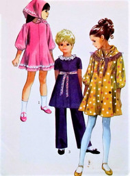 70s CUTE Little Girls Dress,Pants and Scarf Pattern SIMPLICITY 9188 Size 6 Vintage Childrens Sewing Pattern UNCUT