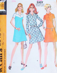 70s RETRO Dress Pattern McCalls 2345 Three Style Versions Vintage Sewing Pattern