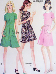 70s CUTE Dress Pattern McCALLS 2353 Inverted Front Pleat 3 Style Versions Bust 32 Vintage Sewing Pattern FACTORY FOLDED