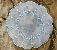 ANTIQUE French Organdy Doily Hand Embroidery Baby Blue Embroidered SO Pretty Vintage Linens