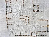 Lovely Vintage WEDDING HANDKERCHIEF Deco Drawn Thread Gorgeous Bridal Hankie Stunning Applique Work Finest Linen Hanky Never Used