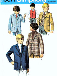 60s CLASSIC Boys Suit Blazer Jackets and Vest Pattern SIMPLICITY 8371 Perfect For Weddings, Graduations, Special Ocassions, Boys Childrens Vintage Sewing Pattern UNCUT