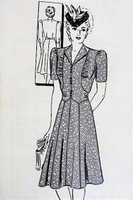 40s LOVELY WW II Dress Pattern MARIAN MARTIN 9660 Pretty Bodice Style War Time Dress Bust 38 Vintage Sewing Pattern